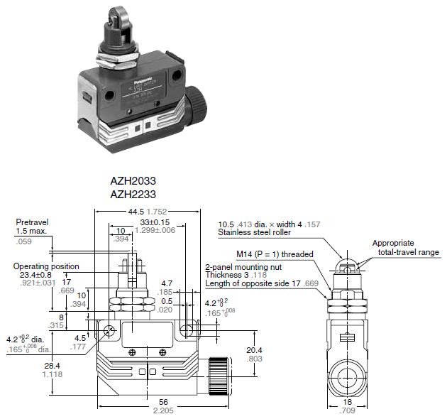 hl limit switches  azh1 2  dimensions