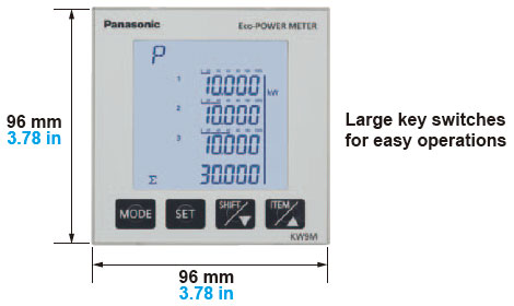 Large-screen LCD with backlight clearly displays the electric power of each phases and their total on one screen.