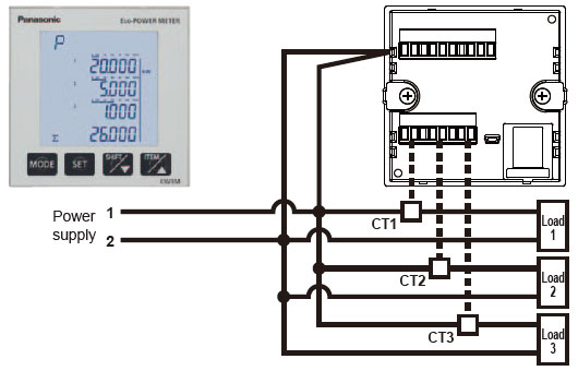 Capable of simultaneously measuring up to three circuits in a single phase two-wire system of same power supply