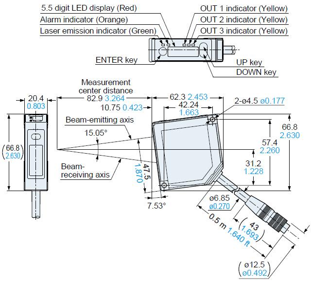 Compact Laser Displacement Sensor Hl G1 Dimensions