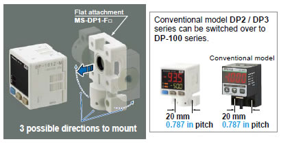 Flat installation on the wall by shifting the direction of the pressure port