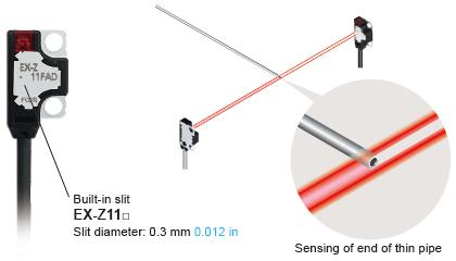 Son derece küçük ø0.3 mm ø0.012 nesnede yarık olmadan algılayabilir