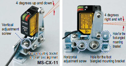 Sensor mounting bracket for beam axis alignment is available MS-CX-11