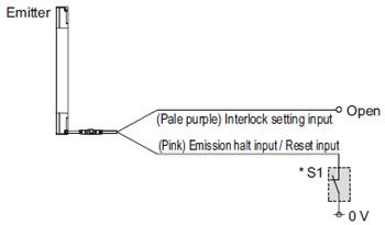 """Bağlantı örneği Kilitleme işlevinin """"devre dışı (otomatik sıfırlama)"""" olarak ayarlanması durumunda"""