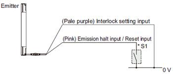 """Bağlantı örneği Kilitleme işlevinin """"etkinleştirildi (manuel sıfırlama)"""" olarak ayarlanması durumunda"""