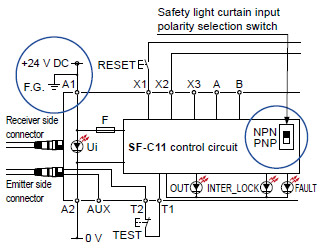 sf4b series wiring diagram (control category 4) for npn output (plus ground)
