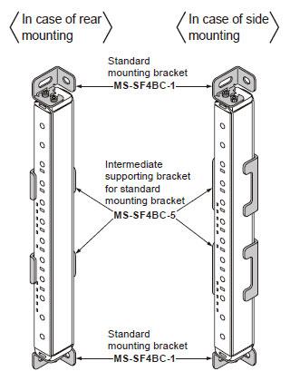 Standart montaj braketi ve standart montaj braketi için ara destek braketi
