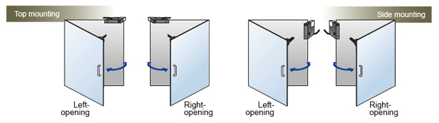 Hinged doors Top mounting, Side mounting