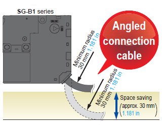 Space saving design with angled connection cable