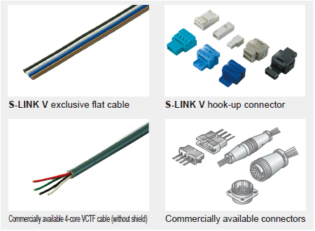 Commercially available cables and connectors can also be used