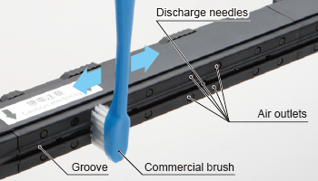 Flat discharge surface for easy cleaning
