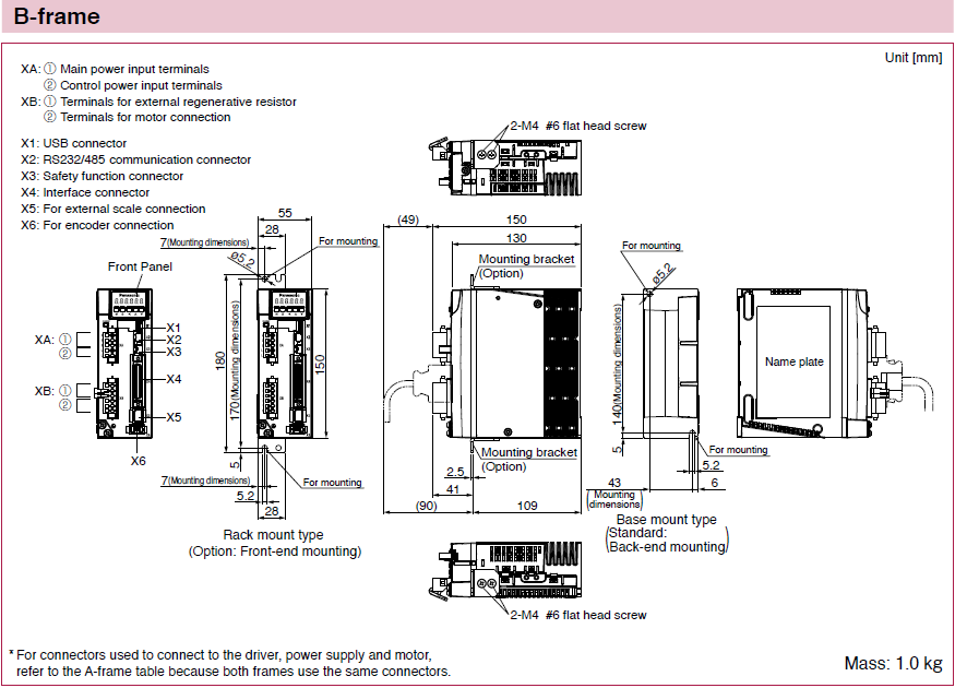 Minas a6 family dimensions automation controls for Servo motor frame sizes